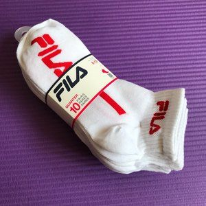 FILA Men's 10 Pairs Quarter Athletic Logo Socks